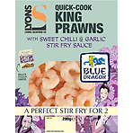 Lyons Seafood Co Quick-Cook King Prawns with Blue Dragon Sweet Chilli & Garlic Stir Fry Sauce 290g Sauce